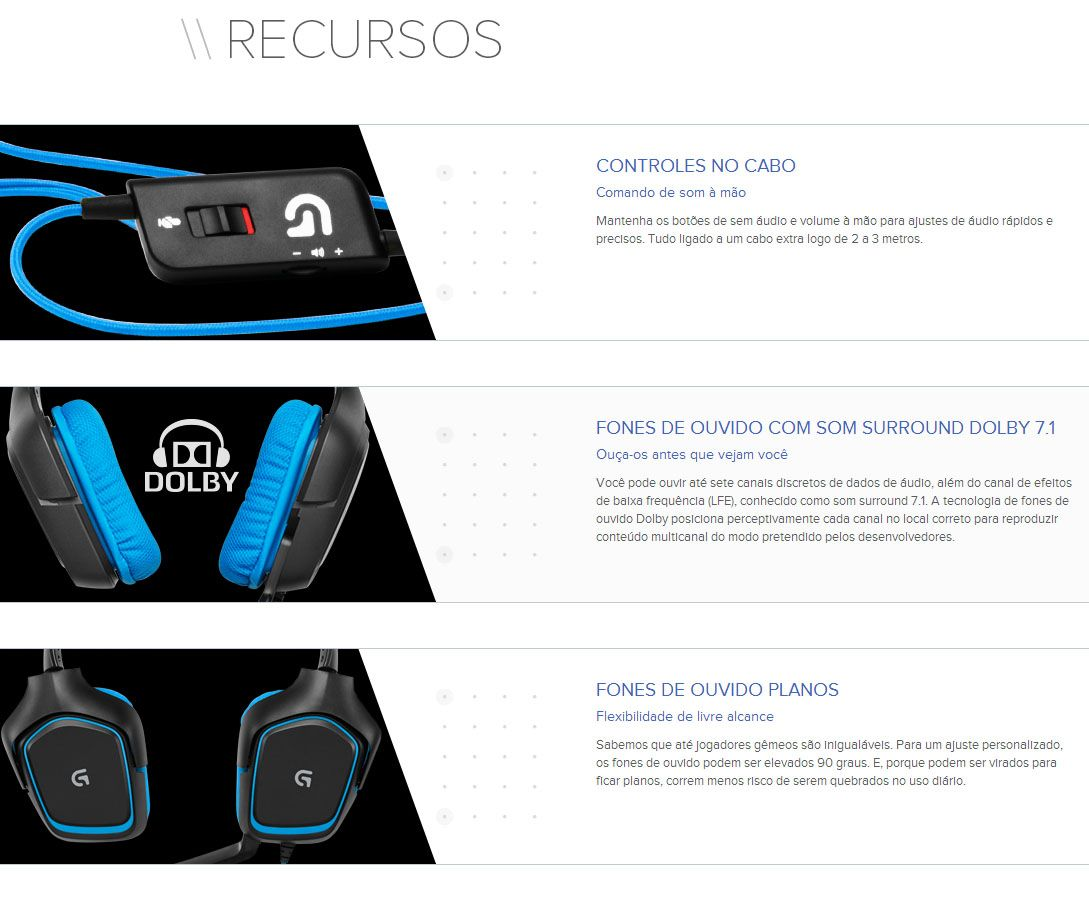 HEADSET GAMER 7.1 LOGITECH G430 981-000551 - Headset Logitech G430 - <a href='http://hardplus.com.br/blog/tecnologia-nvidia-3d-vision-surround/' target='_blank'>Surround</a> 7.1 - USB - contr
