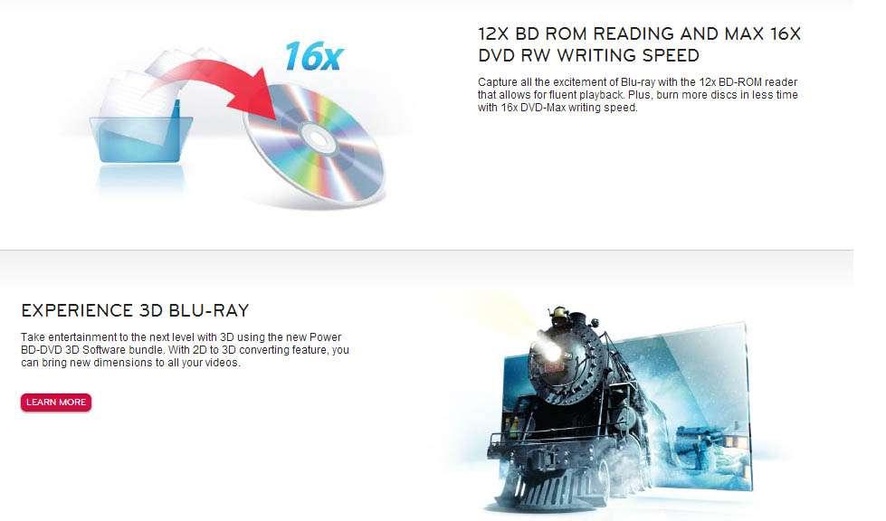Gravador DVD e Leitor Blu-Ray LG 12x SATA - UH12NS