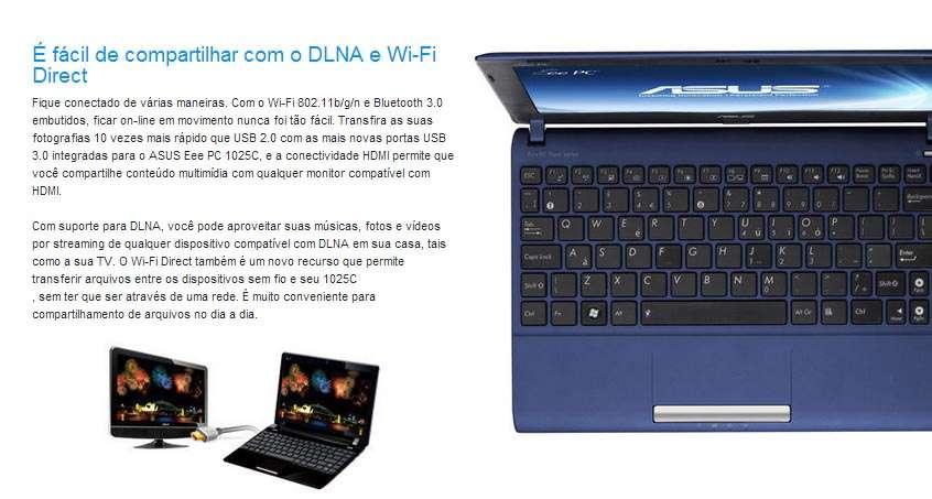 NetBook Asus Eee PC 1025C - Tela 10.1