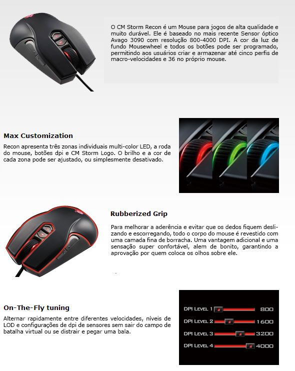 Mouse Gaming Cooler Master Recon - 4000dpi - Cor a