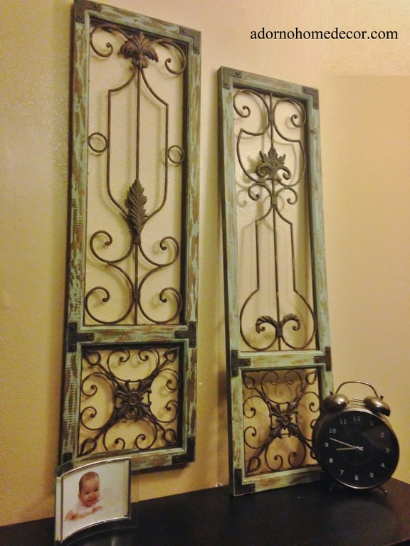 Distressed Metal Wall Decor : Distressed metal wood wall panel set antique vintage