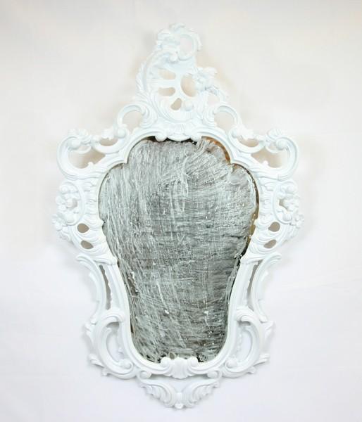 Specchiera bianca specchio a parete stile barocco finto vintage ...