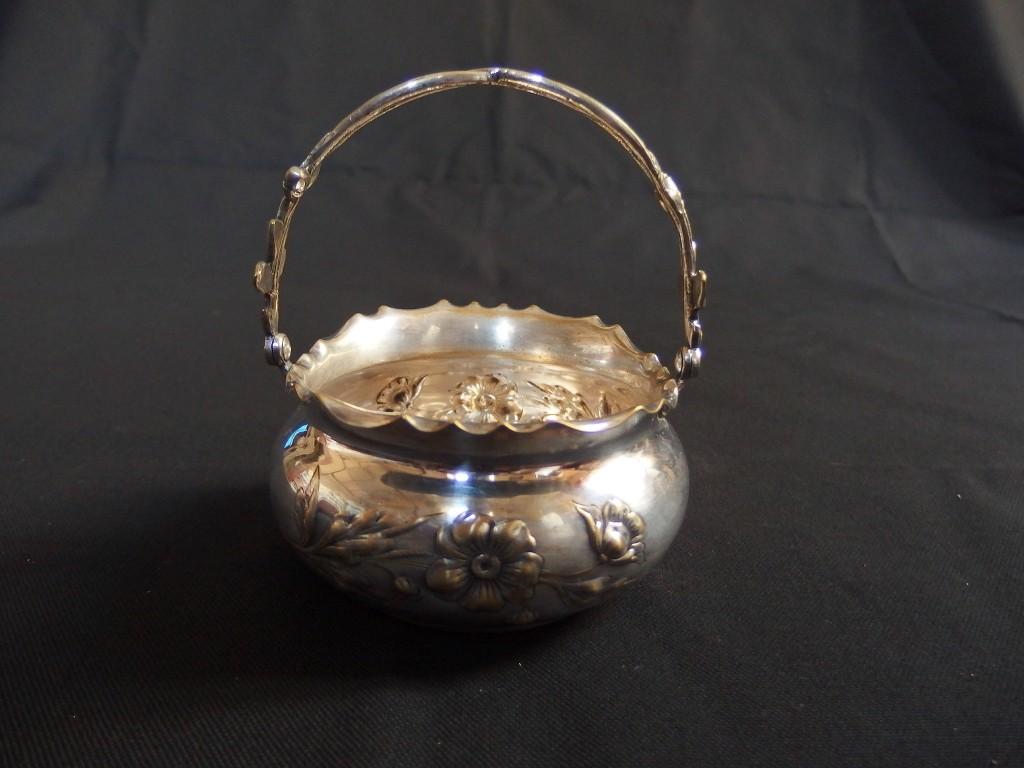 Ancien petit panier en m tal argent wmf art nouveau old silverplated bas - Diametre panier basket ...