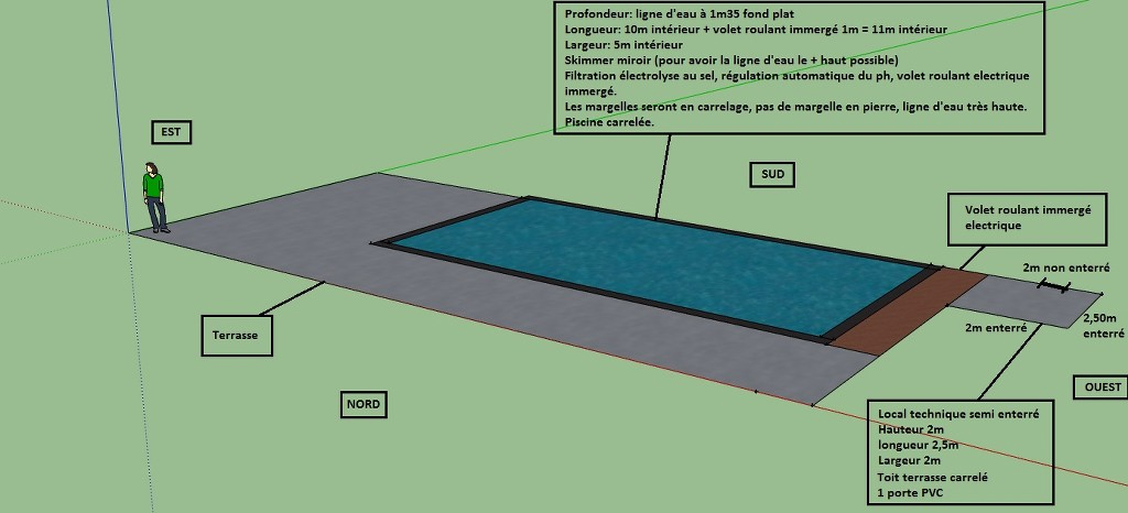 Autoconstruction 11x5x1 4 carrel e terrasse bois termin e for Plan piscine miroir