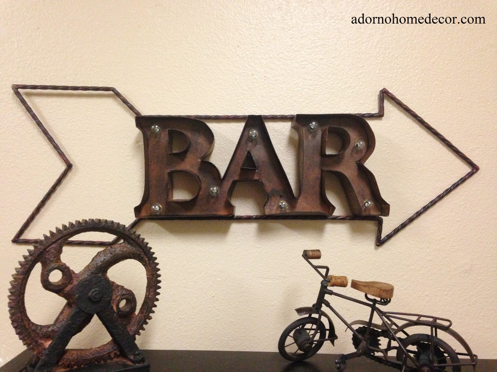 lighted marquee rustic metal bar sign wall decor arrow