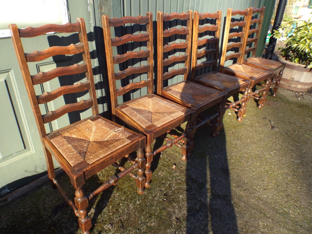 of six antique lancashire ladderback dining chairs offered for sale
