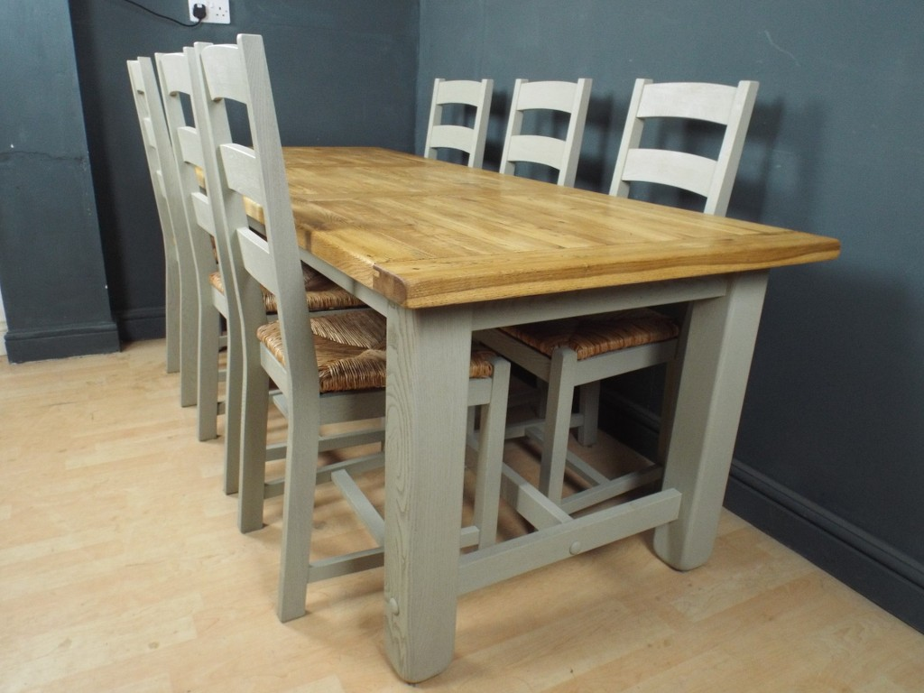 Large Oak Shabby Chic Painted Dining Table 6 Chairs EBay