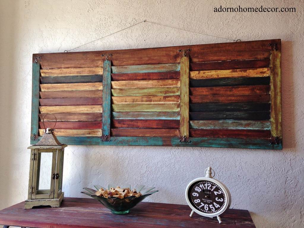 Rustic wood wall panel distressed shutter antique vintage shabby accent decor ebay - Wooden wall design ...