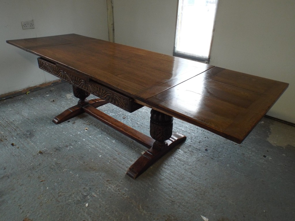Large antique solid oak draw leaf refectory dining table for Solid oak dining table with leaf