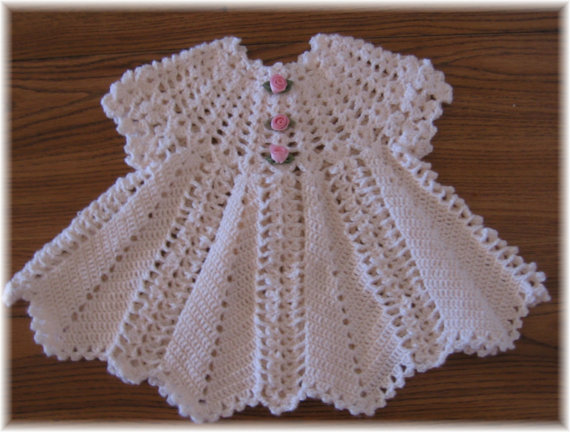 Crochet Patterns With Super Fine Yarn : CROCHET PATTERN for APPLE BLOSSOM Baby Dress by REBECCA LEIGH---6...