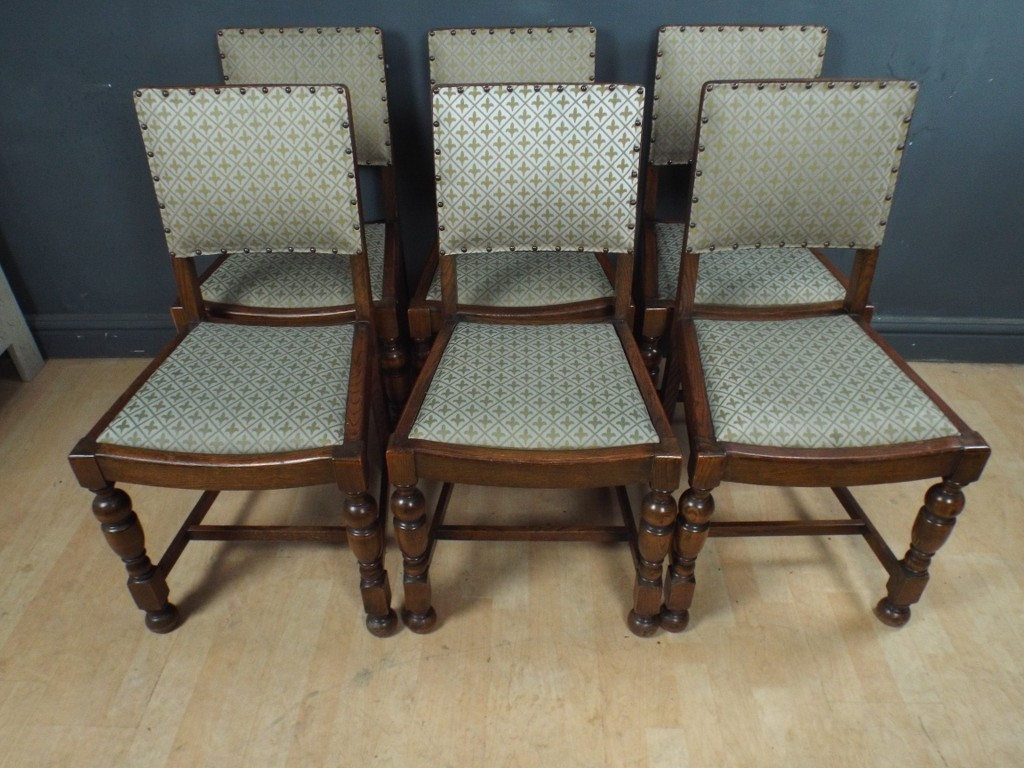 Set Of Six Antique Oak Dining Chairs EBay