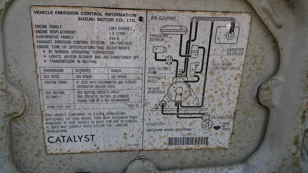 Suzuki Swift 1993 Vacuum Diagram