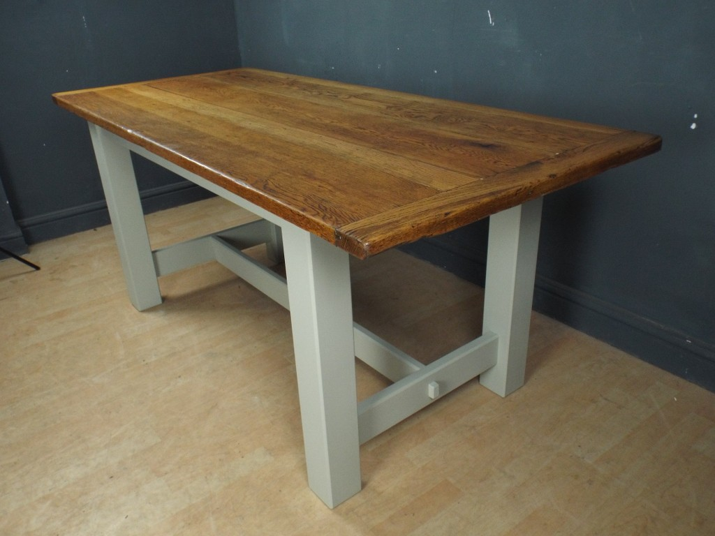 Large Bespoke Dining Refectory Table Antique Oak Top Painted Shabby Chic EBay