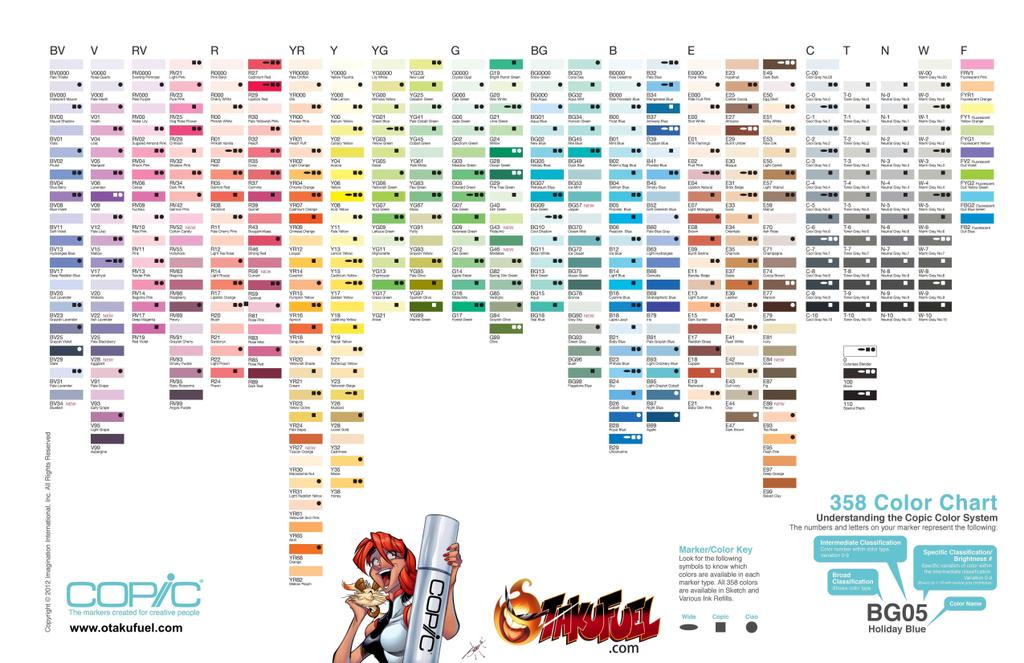 copic marker color charts and