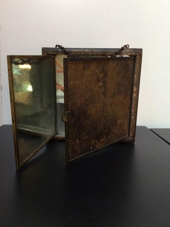 Ancien grand miroir triptyque bois et papier d cor for Grand miroir triptyque