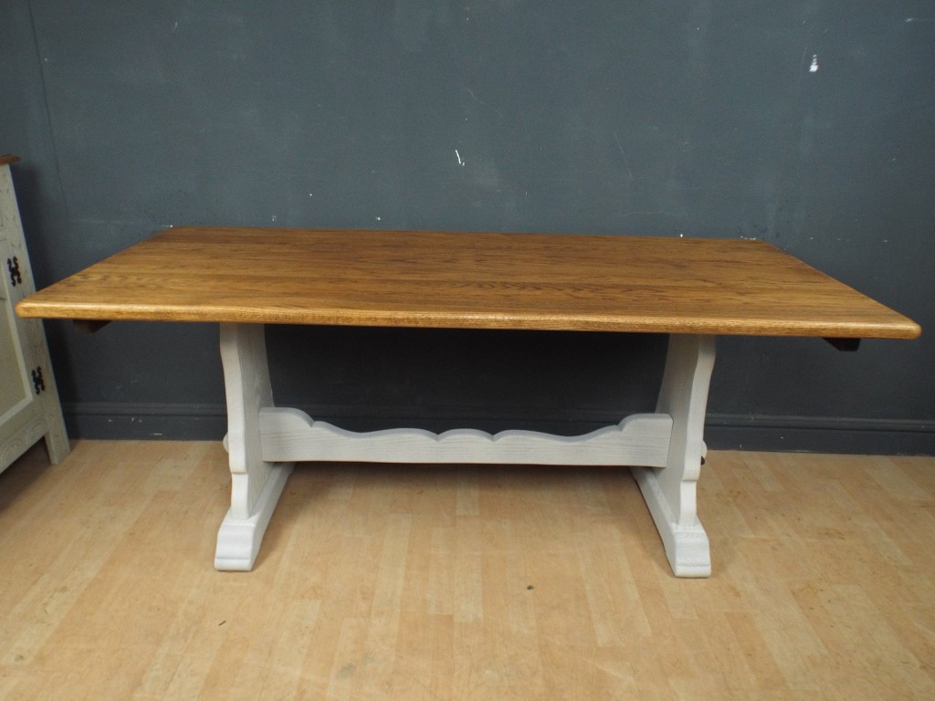 Large Solid Oak Painted Shabby Chic Refectory Dining Table Ref89 EBay