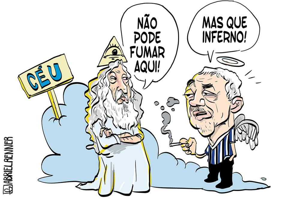 Charge de Gabriel Renner: Paulo Sant'Ana chega ao céu... - Você não pode fumar aqui! - Mas que inferno!