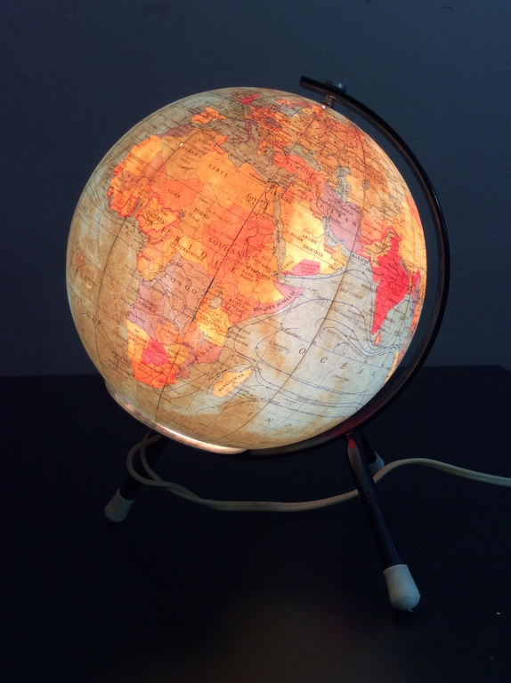 mappemonde globe terrestre lumineux en verre et m tal laqu taride design xx me ebay. Black Bedroom Furniture Sets. Home Design Ideas