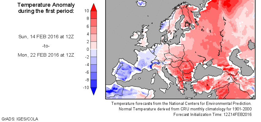 Temperature anomaly in the new week. Earlier this winter it has been the  opposite: warm in the west and cold in the east. My place in Germany is in  between, ...