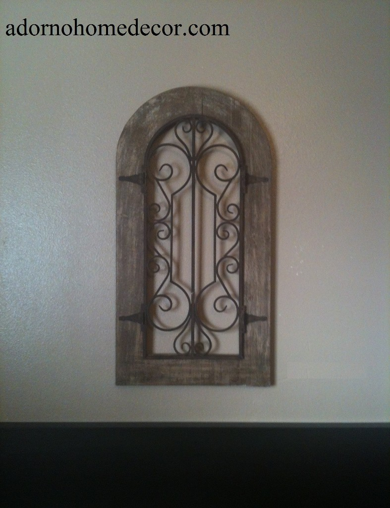 Metal Wood Wall Decor metal wood arch wall panel antique vintage rustic chic industrial
