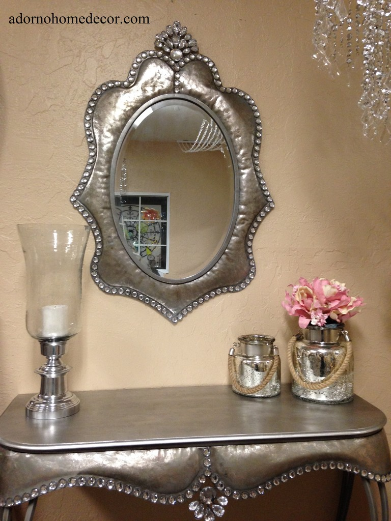 Metal wall silver oval crystal jewel mirror rustic modern chic unique accent ebay - Oval wall decor ...