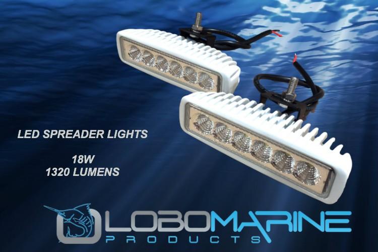lobo marine led white 12v 18w 1320 lumen fishing spreader. Black Bedroom Furniture Sets. Home Design Ideas