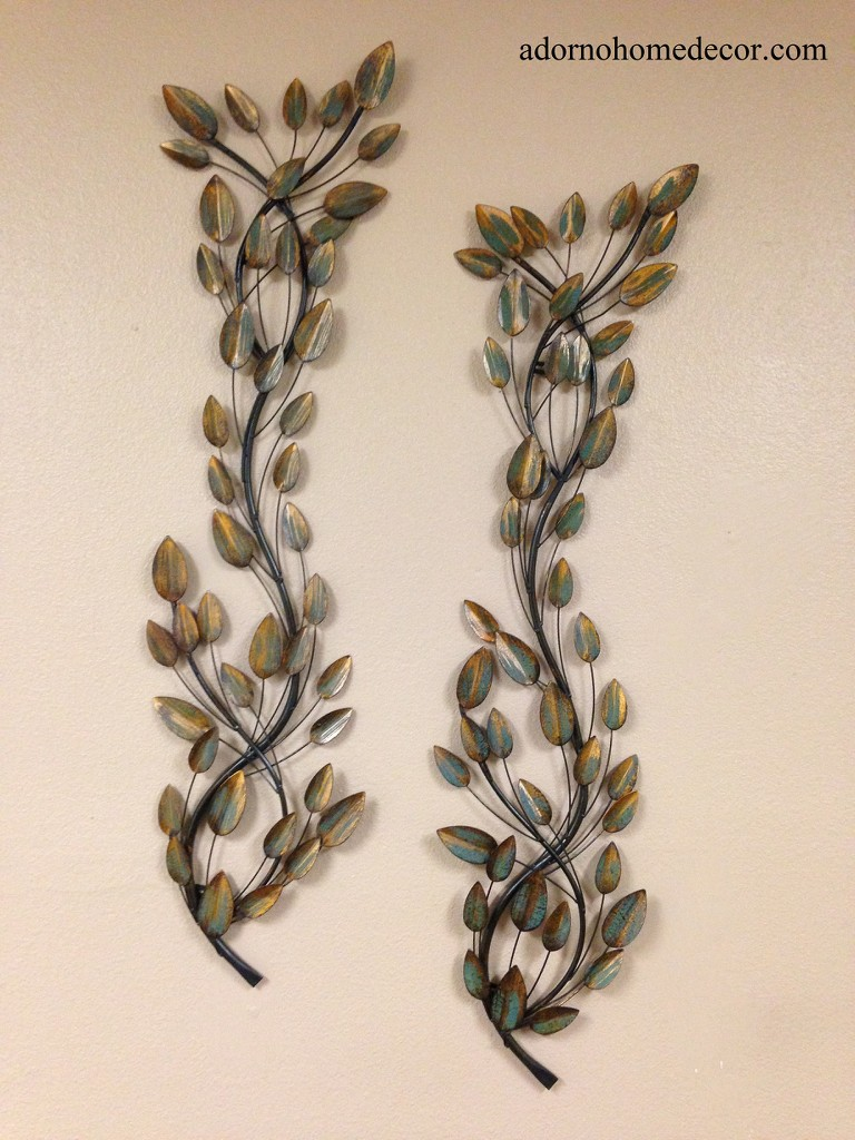 Metal leaf branches set of 2 accent rustic decor modern for Leaf wall decor