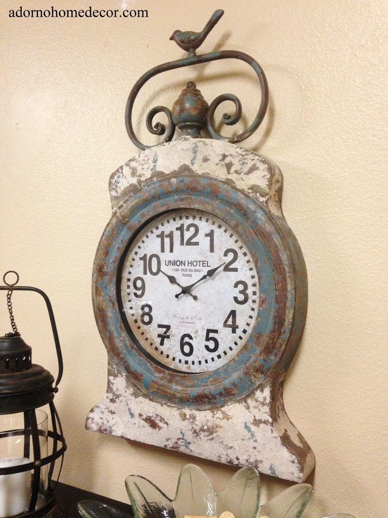 Metal round wall clock rustic decor grand hotel vintage cottage antique chic ebay - Antique clock designs for your home ...
