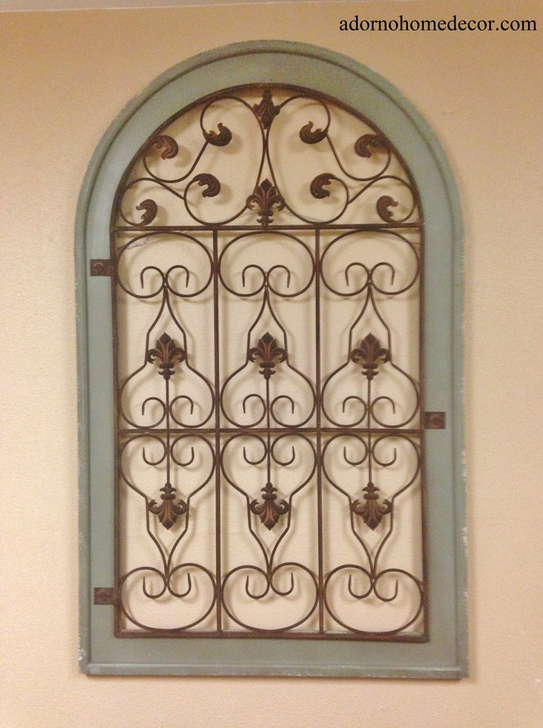 Tin Wall Decor Vintage : Large metal wood arch wall panel green antique vintage
