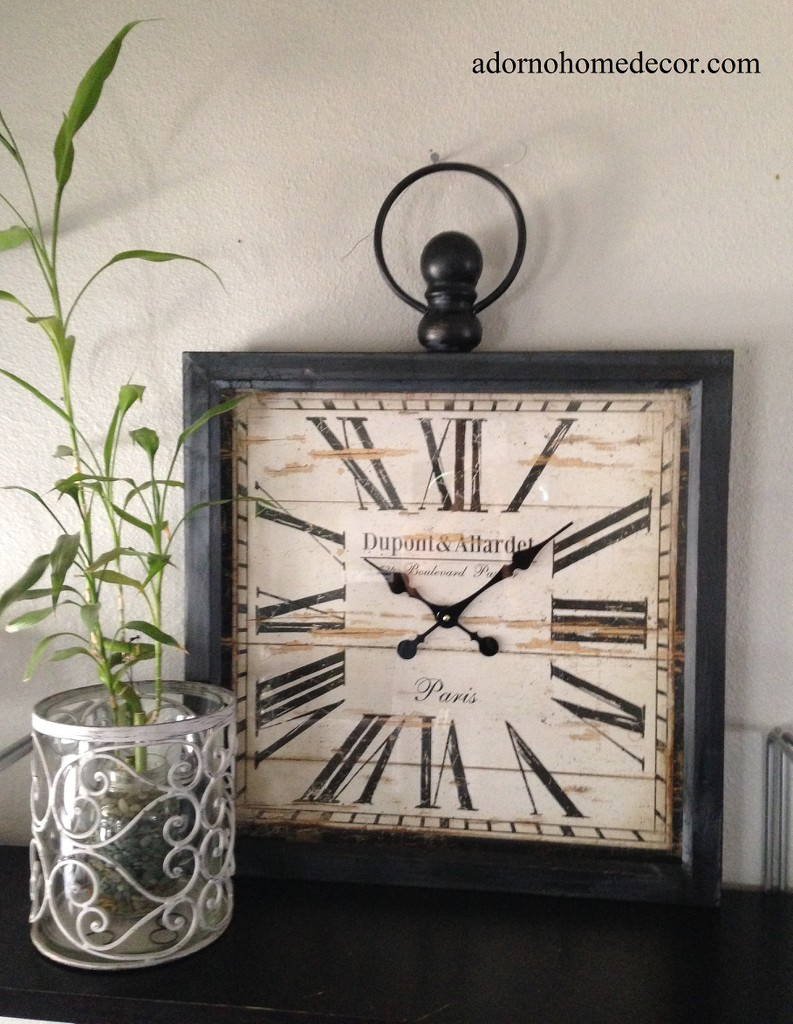 large metal square wall clock paris rustic decor industrial  - large metal square wall clock