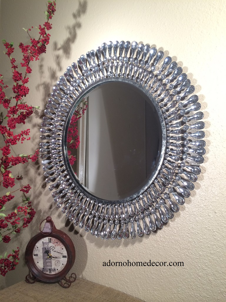 Wall Decor With Crystals : Metal wall round crystal mirror rustic modern chic
