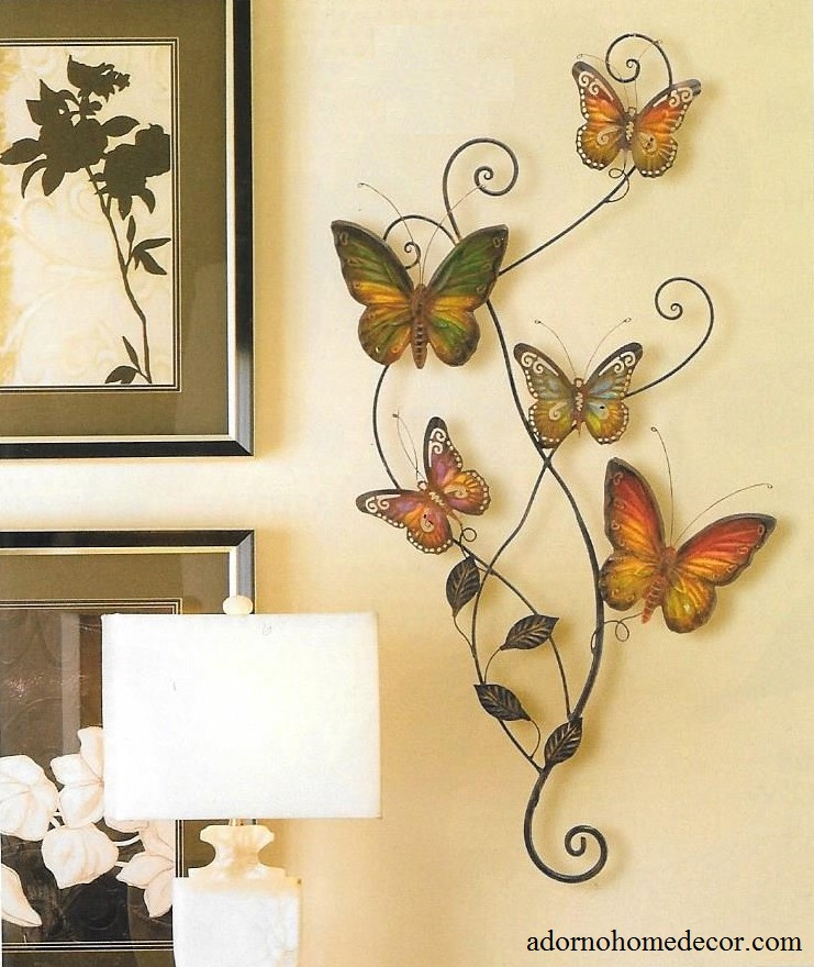 metal butterfly wall decor art garden cottage unique indoor outdoor patio decor ebay. Black Bedroom Furniture Sets. Home Design Ideas