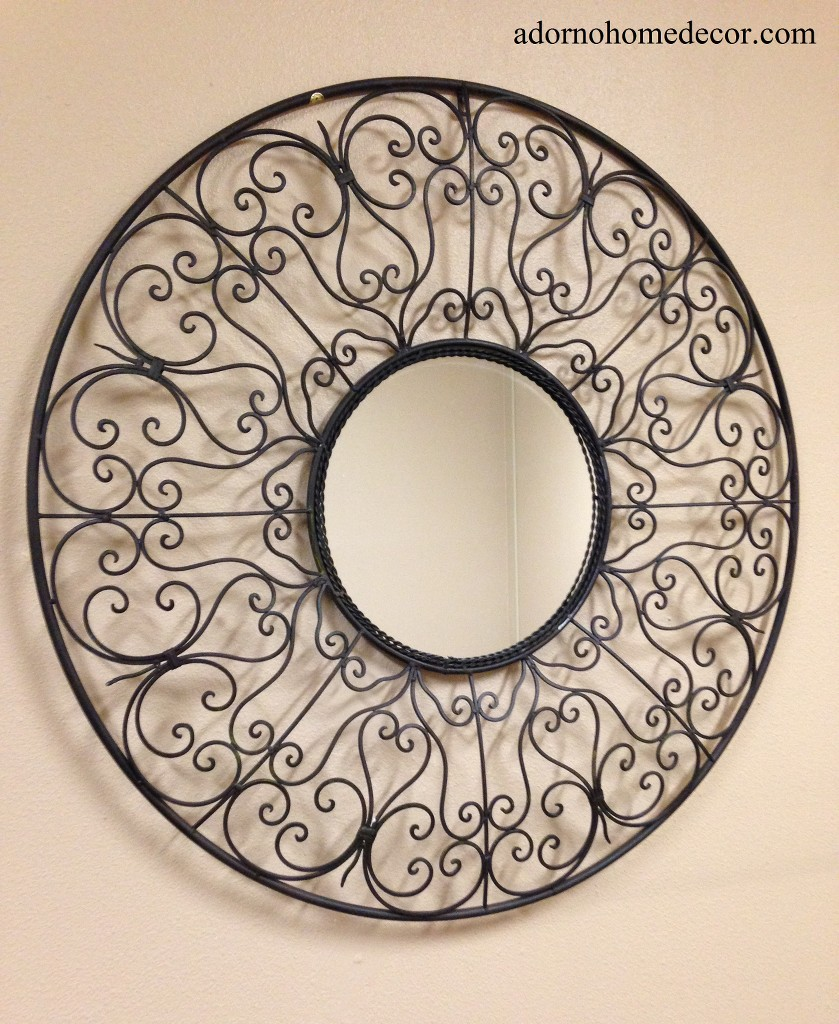 Rustic Scroll Design: Large Round Wrought Iron Mirror Rustic Scroll Unique Metal