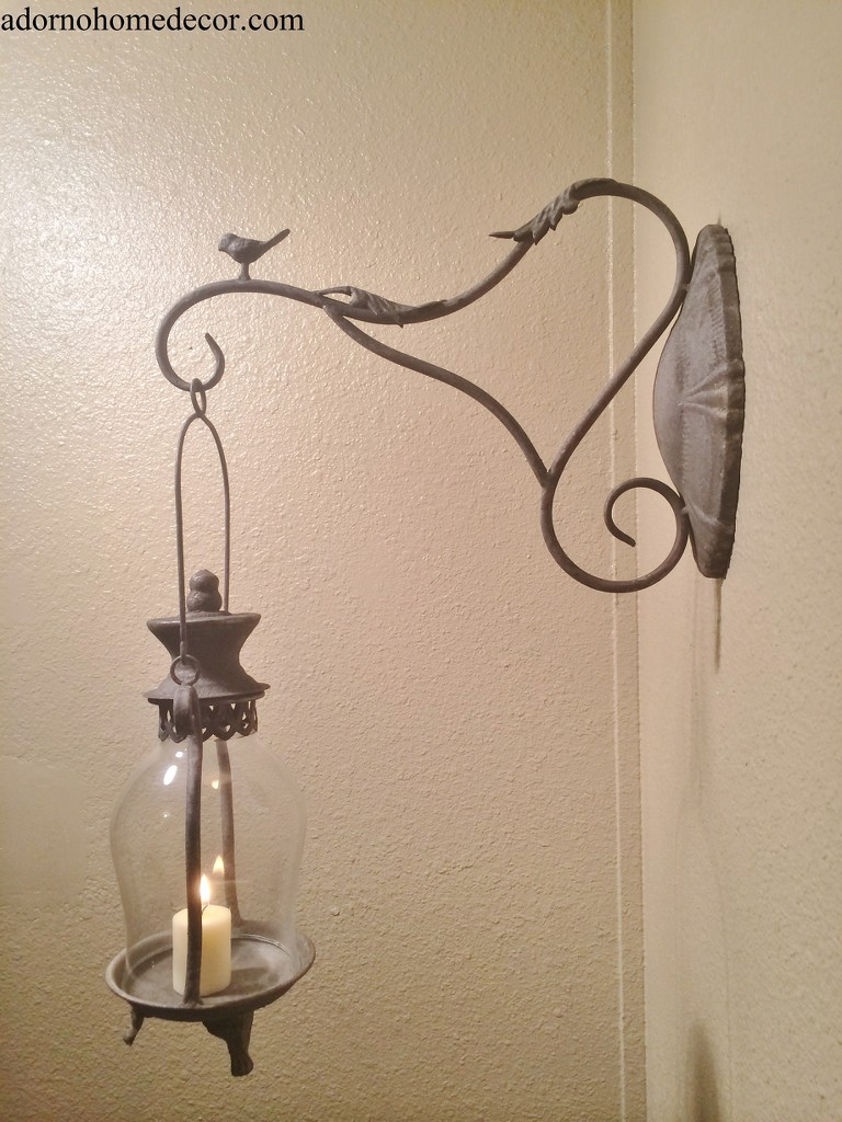 Metal Lantern Wall Sconce Bird Rustic Antique Vintage Chic Unique Candle Decor eBay