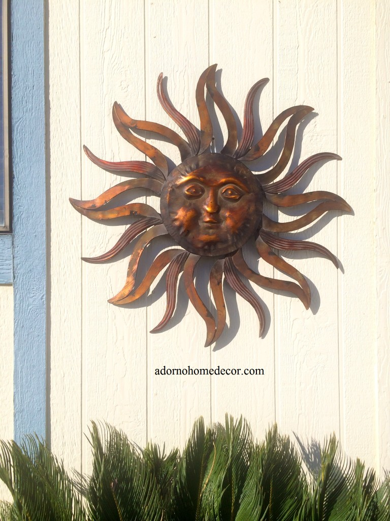Large metal sun wall decor rustic garden art indoor for Bronze wall art