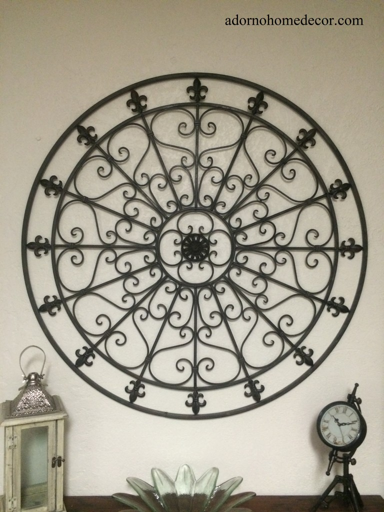 Large round wrought iron wall decor rustic scroll fleur de for Wrought iron decorations home