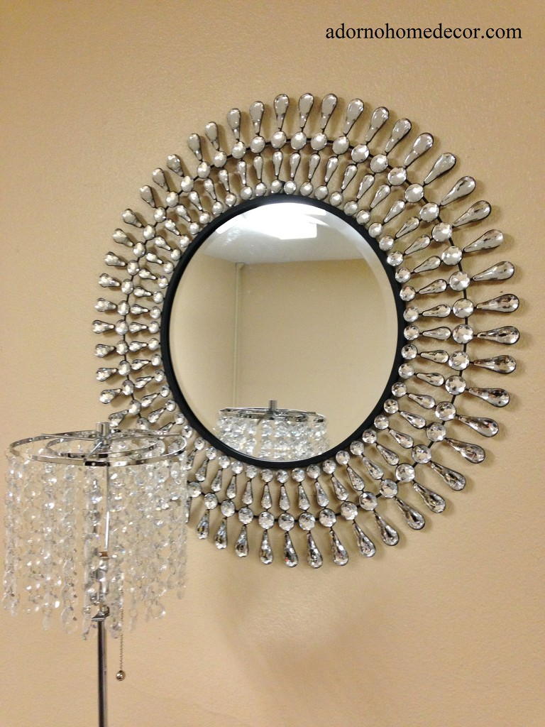Metal wall round modern crystal mirror rustic crystal chic for Modern mirrored wall art
