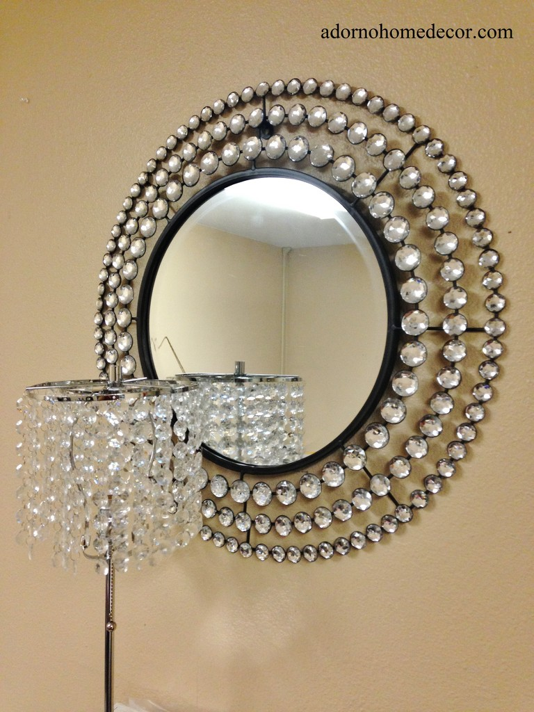 Metal wall round crystal jewel mirror rustic modern chic for Unique decorative accessories