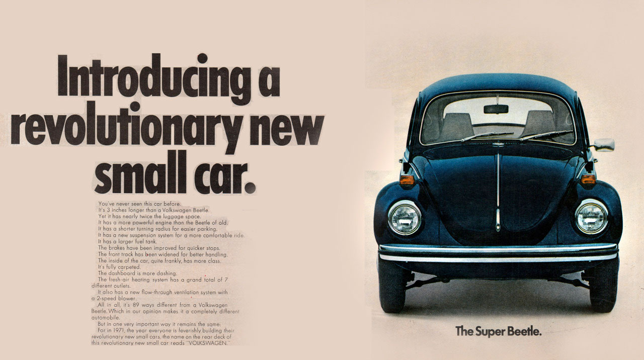 Introducing a revolutionary new small car. The Volkswagen Super Beetle.