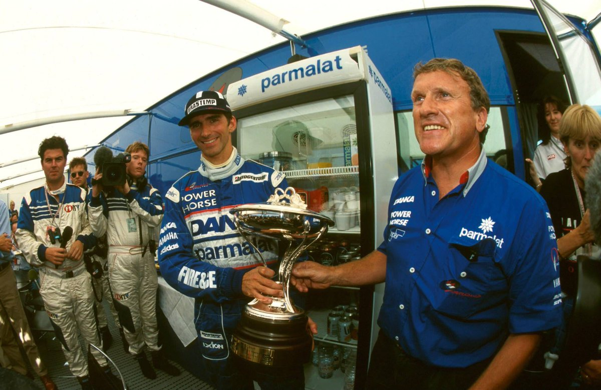 F1 1997 Hungary GP - Damon Hill celebrates with his trophy