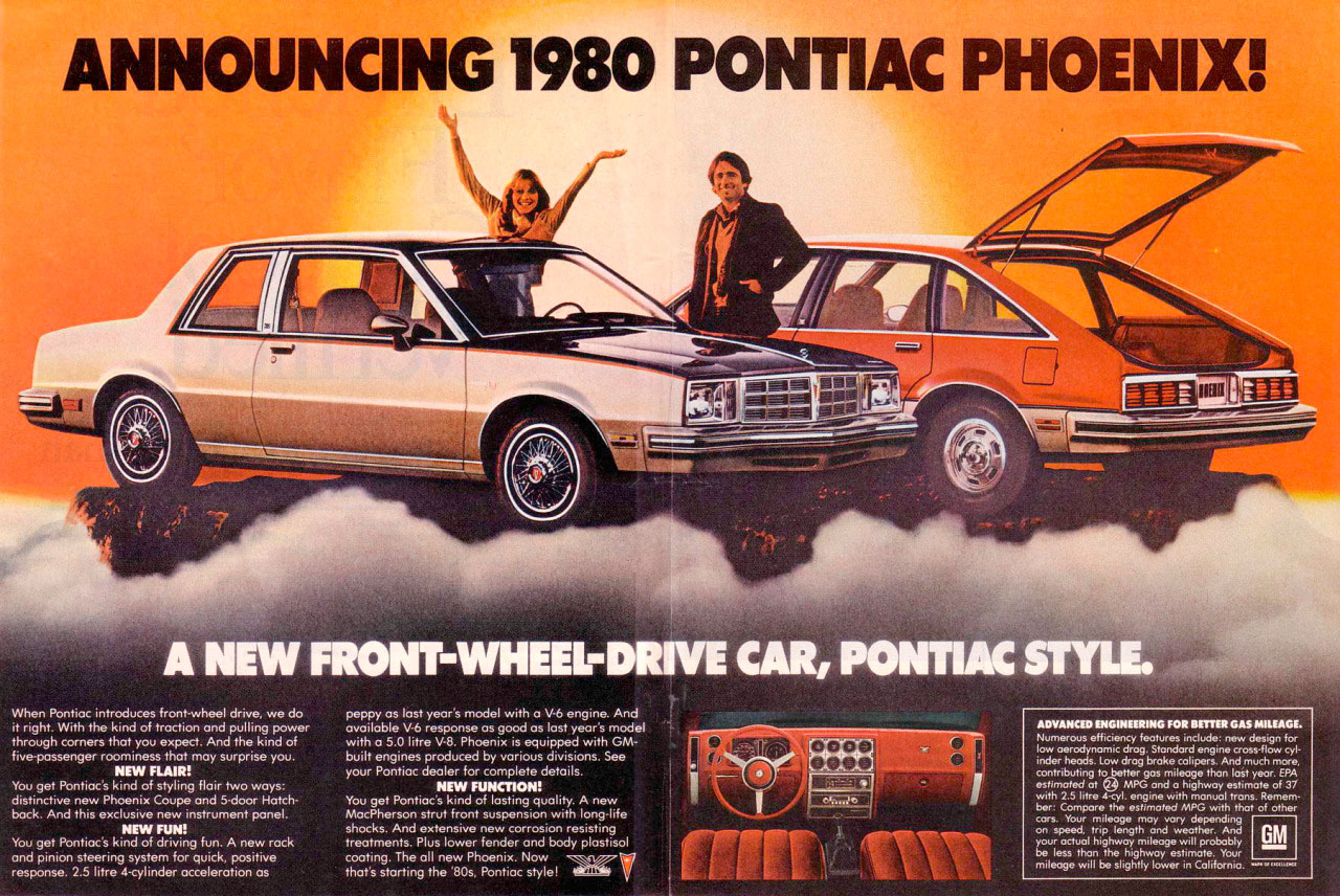 Announcing the 1980 Pontiac Phoenix! A new front-wheel-drive car, Pontiac style.