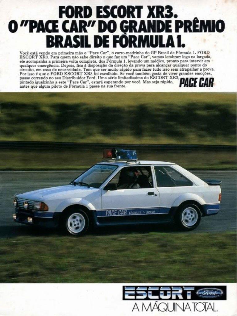 Ford Escort XR3. O pace car do Grande Prêmio Brasil de Fórmula 1.