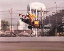 1990 - Jim Crawford's Lola-Buick IndyCar flies through the air during an accident in practice