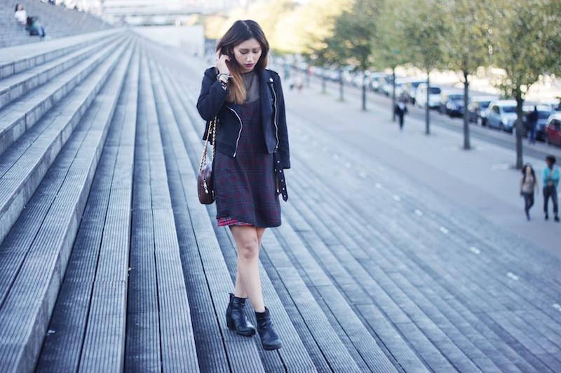 robe motif à carreaux blog mode