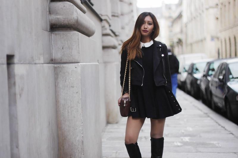 robe noire col claudine