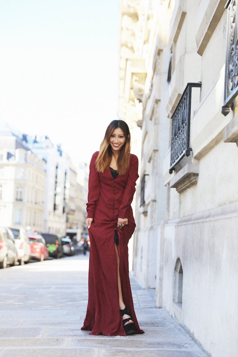 robe longue burgundy blog mode paris