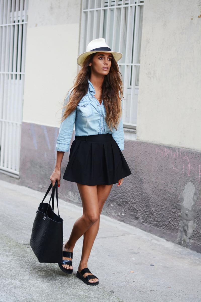 chambray with mini flare skirt bmodish