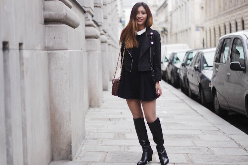 perfecto noir en daim blog mode style preppy