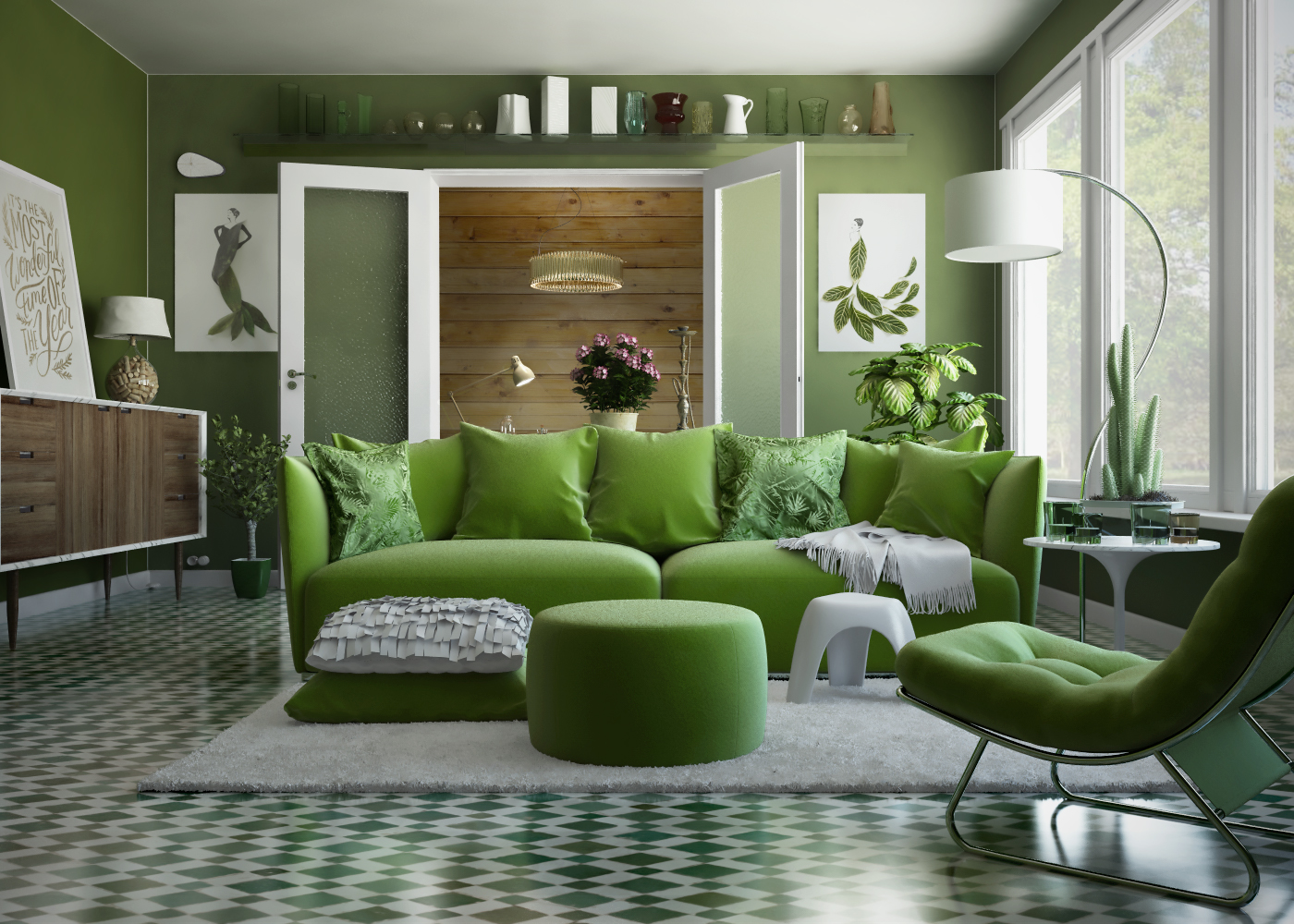 Olive green living room ideas living room colour schemes for Olive green dining room ideas