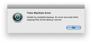 Time Machine Cannot Complete Backup Error